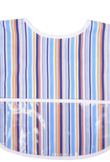 3 MARTHAS BLUE STRIPE LAMINATED FEEDING BIB