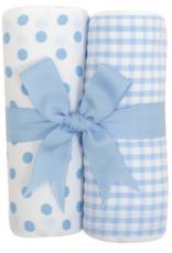 3 MARTHAS BLUE PUPPY FABRIC BURP PADS SET OF 2