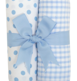 3 MARTHAS BLUE PUPPY FABRIC BURP PADS SET OF 2