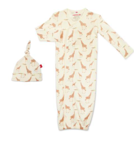 MAGNIFICENT BABY JOLIE GIRAFFE ORGANIC COTTON GOWN & HAT