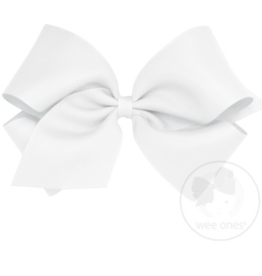 wee ones WHITE - MINI  CLASSIC GROSGRAIN  BOW