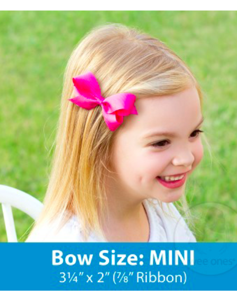 wee ones NAVY - MINI  CLASSIC GROSGRAIN  BOW