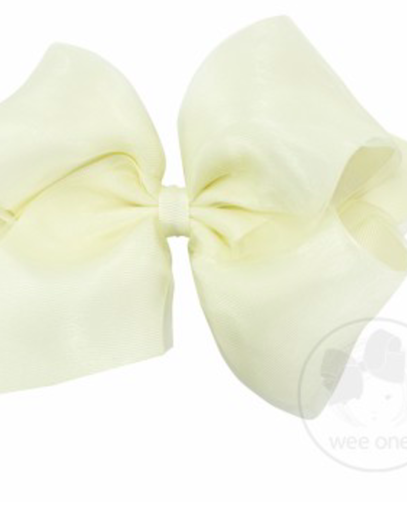 wee ones ORGANZA/GROSGRAIN OFF WHITE - KING OVERLAY BOW