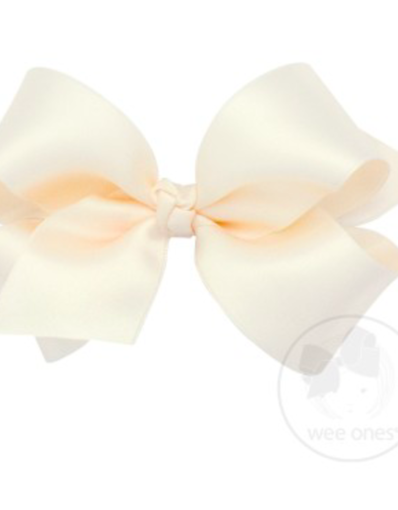 wee ones ECRU - MEDIUM CLASSIC FRENCH SATIN BOW