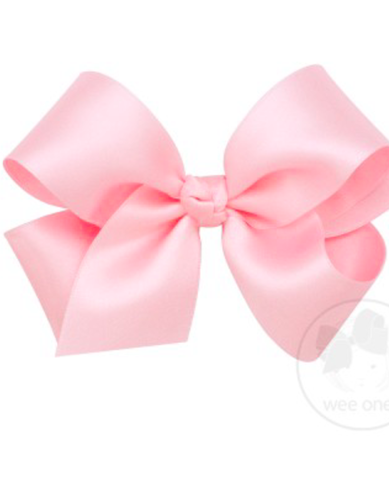 wee ones LIGHT PINK- MINI CLASSIC FRENCH SATIN BOW