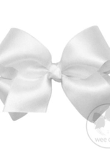 wee ones WHITE- MEDIUM CLASSIC FRENCH SATIN BOW