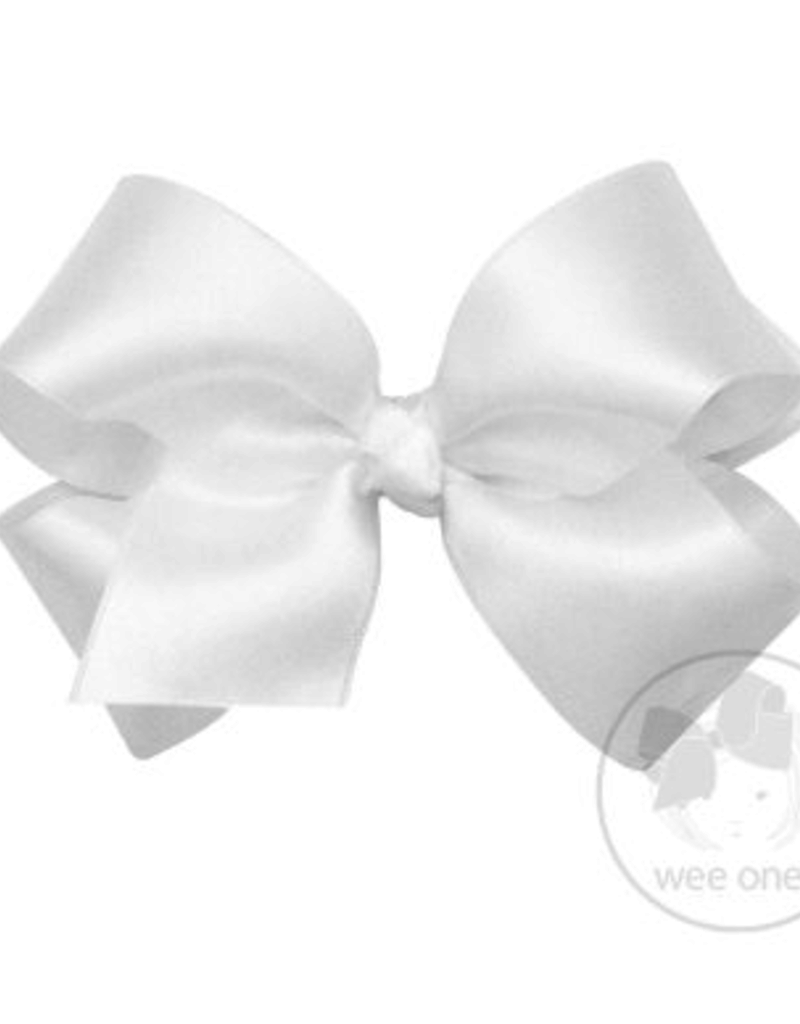 wee ones WHITE- MINI CLASSIC FRENCH SATIN BOW