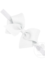 wee ones WHITE -  CLASSIC GROSGRAIN BOW ON HEADBAND