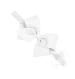 wee ones WHITE-  CLASSIC GROSGRAIN BOW ON HEADBAND
