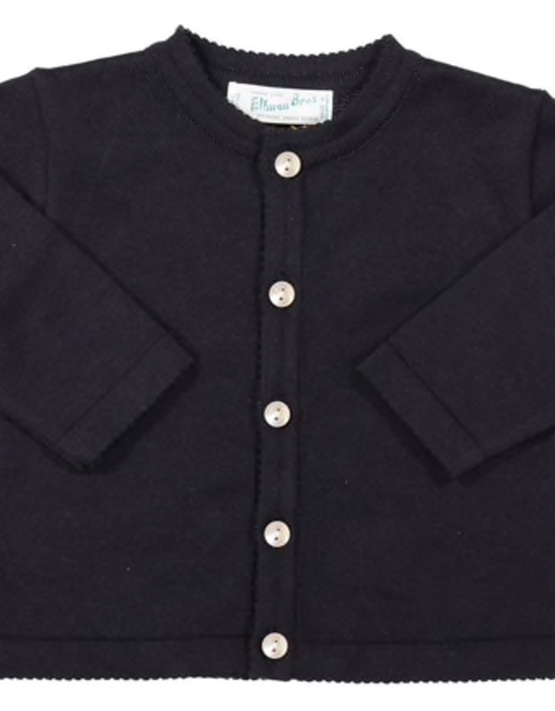 FELTMAN BROS NAVY CLASSIC KNIT CARDIGAN (SIZES 3, 6, & 9 MONTHS)