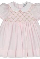 FELTMAN BROS ROSEBUD DIAMOND SMOCKED DRESS W/PANTY (SIZES 3, 6 & 9 MONTHS)