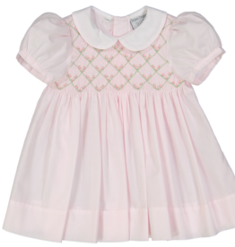 FELTMAN BROS ROSEBUD DIAMOND SMOCKED DRESS W/PANTY (SIZES 3, 6 & 9 MONTHS)