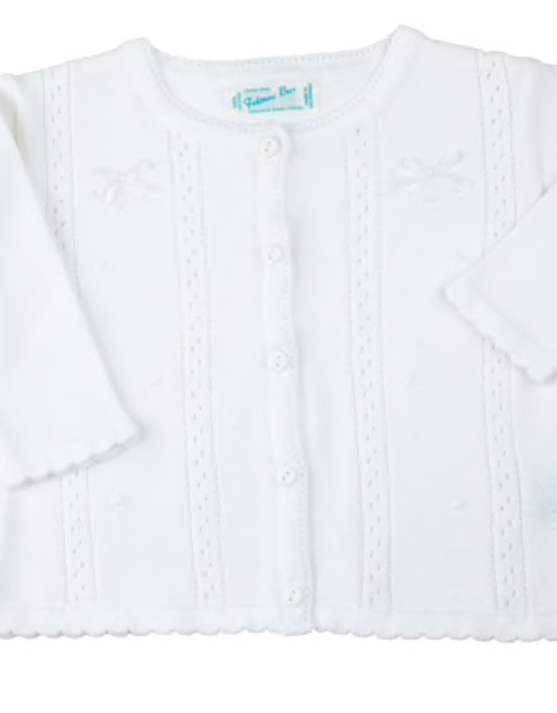 FELTMAN BROS WHITE POINTELLE BOW KNIT CARDIGAN (SIZES 12, 18 & 24 MONTHS)