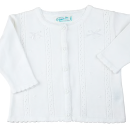 FELTMAN BROS WHITE POINTELLE BOW KNIT CARDIGAN (SIZES NB, 3, 6, AND 9 MONTHS)