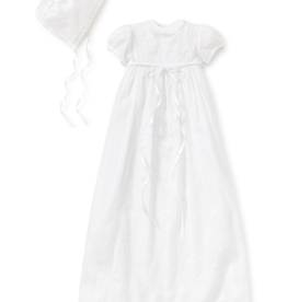 KISSY KISSY GIRLS VICTORIA SHORT SLEEVE CHRISTENING GOWN W/HAT