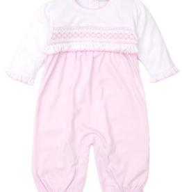 KISSY KISSY PINK FALL HAND SMOCKED PLAYSUIT