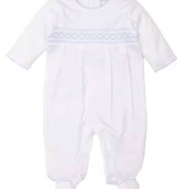 KISSY KISSY WHITE/BLUE FALL HAND SMOCKED FOOTIE