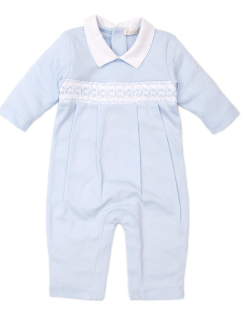 KISSY KISSY LIGHT BLUE FALL HAND SMOCKED PLAYSUIT