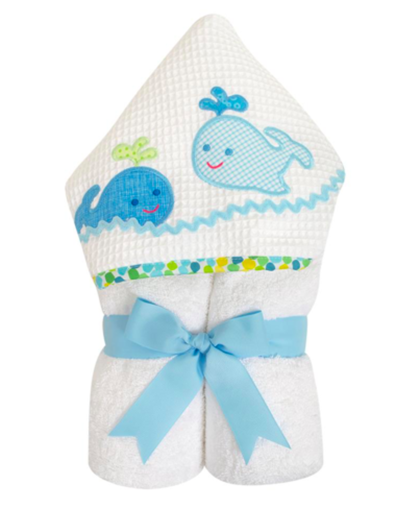 3 MARTHAS EVERYKID  BLUE WHALES TOWEL