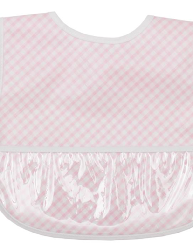 3 MARTHAS PINK CHECK LAMINATED FEEDING BIB