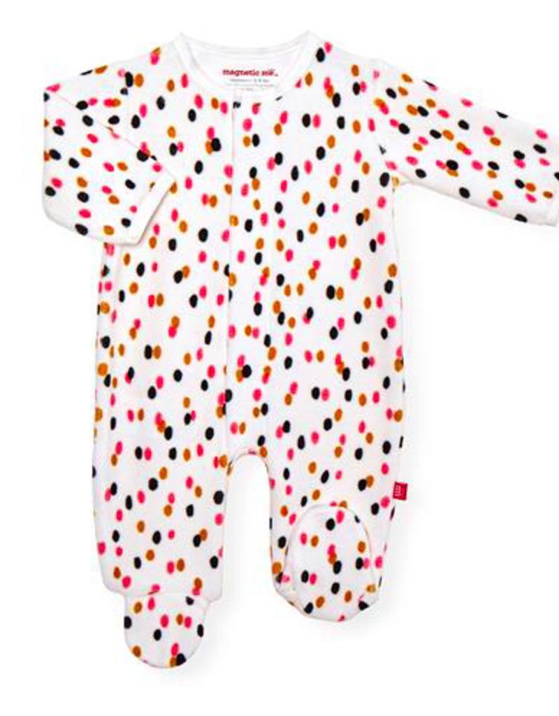 MAGNIFICENT BABY GIRLS CONFETTI VELOUR FOOTIE
