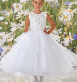 JOAN CALABRESE BEADING, ORGANZA FLOWERS, SATIN & TULLE DRESS