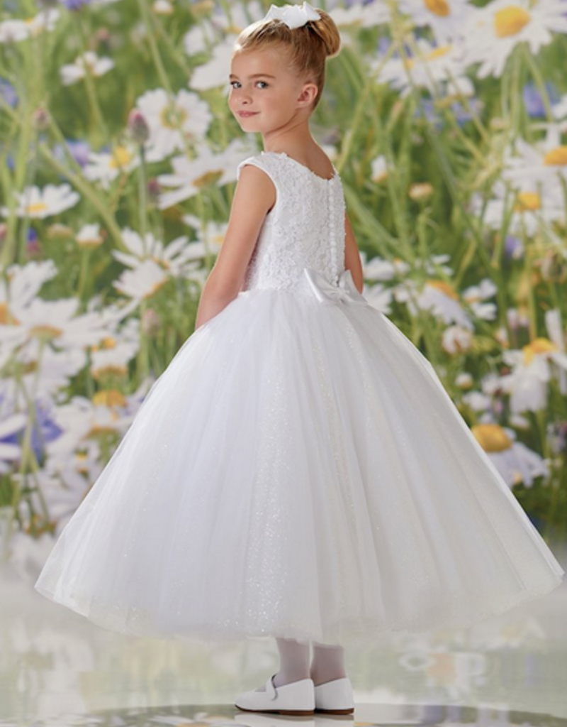 JOAN CALABRESE BEADED LACE APPL, TULLE & GLITTER BUBBLE TULLE DRESS