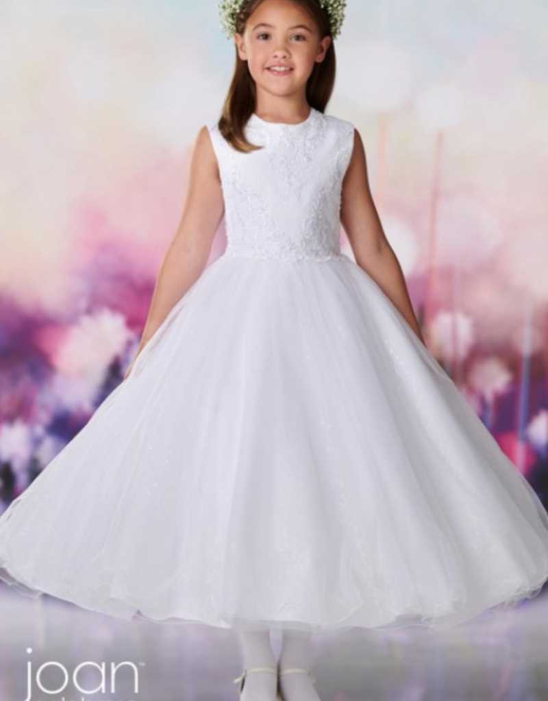 JOAN CALABRESE SATIN,TULLE,SEQUIN TULLE & LACE DRESS
