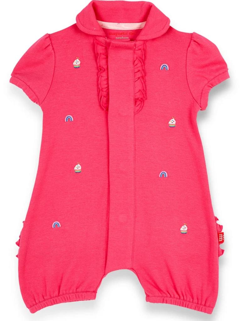 MAGNIFICENT BABY RAINBOW SPRINKLE ORGANIC CTN SCHIFFI EMB POLO ROMPER