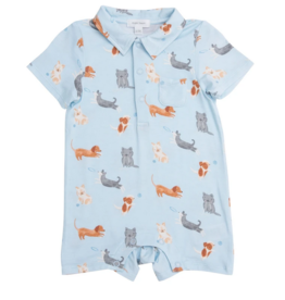ANGEL DEAR PUPPY PLAY  S/S POLO ROMPER