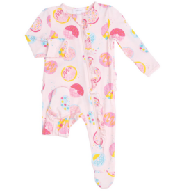 ANGEL DEAR DONUTS RUFFLE FRT ZIPPER FOOTIE