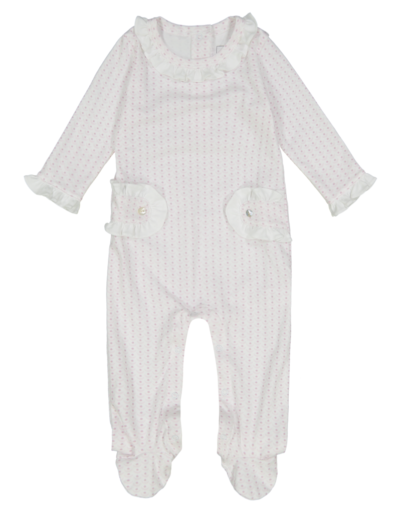 LILA & HAYES LUCY/S21G FOOTED ROMPER W/RUFFLES