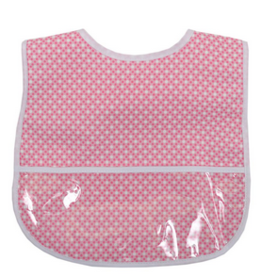 3 MARTHAS PINK GOLF DOT LAMINATED FEEDING BIB