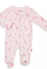 MAGNIFICENT BABY PINK JOLIE GIRAFFE ORGANIC COTTON FOOTIE