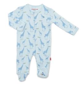MAGNIFICENT BABY BLUE JOLIE GIRAFFE ORGANIC COTTON FOOTIE