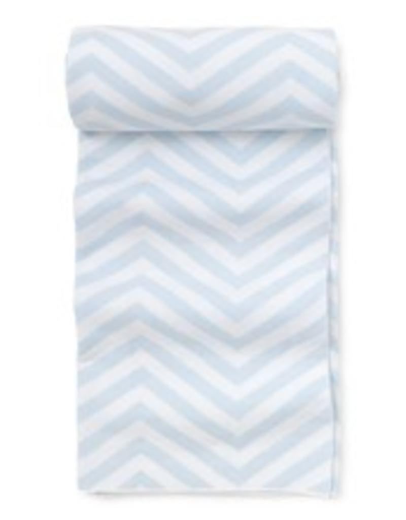 KISSY KISSY LIGHT BLUE CHEVRON KNIT BLANKET