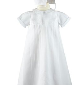 FELTMAN BROS EMBROIDERED COLLAR CHRISTENING GOWN W/HAT