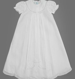 FELTMAN BROS GIRLS  PIN TUCKED YOKE CHRISTENING GOWN W/HAT