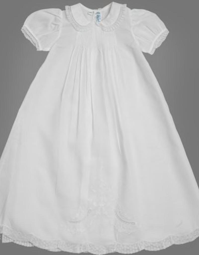 FELTMAN BROS FELTMAN BROTHERS GIRLS PIN TUCKED BODICE CHRISTENING GOWN W/HAT