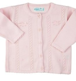 FELTMAN BROS POINTELLE BOW KNIT CARDIGAN