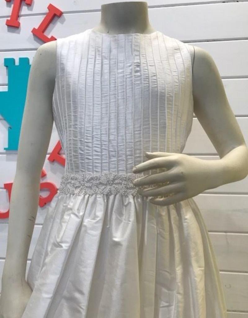 SUSANNE LIVELY SUSANNE LIVELY GIRLS ROUND COLLAR PINTUCK BODICE SILK DRESS - SIZE 8