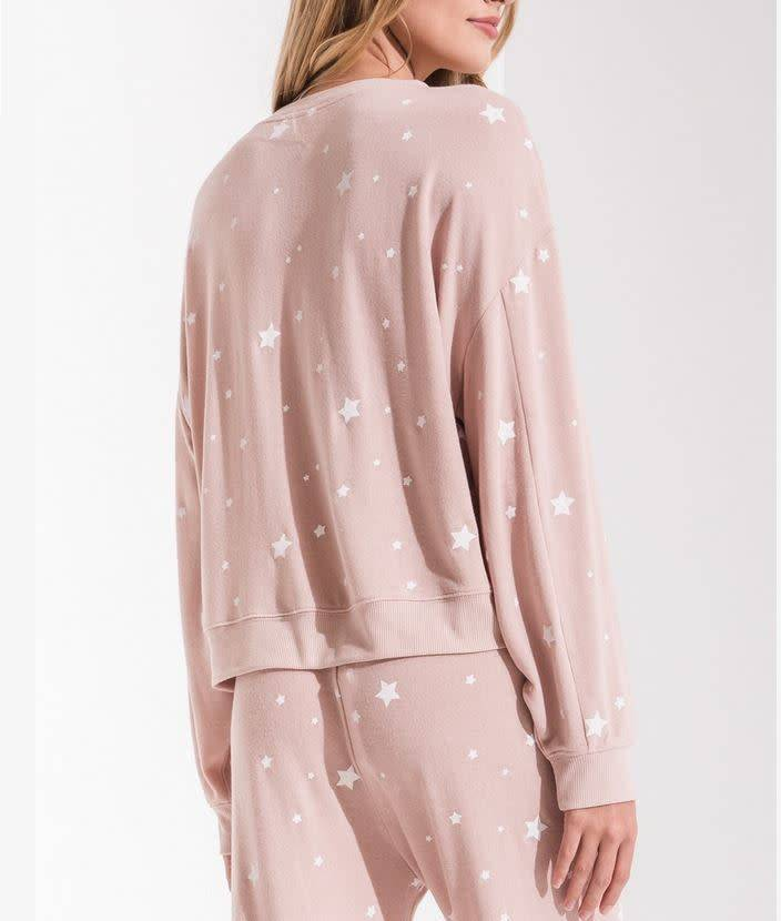 Lux Star Pullover Crew - Silver Peony