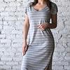 Stripe Midi Drop Dress - H Grey