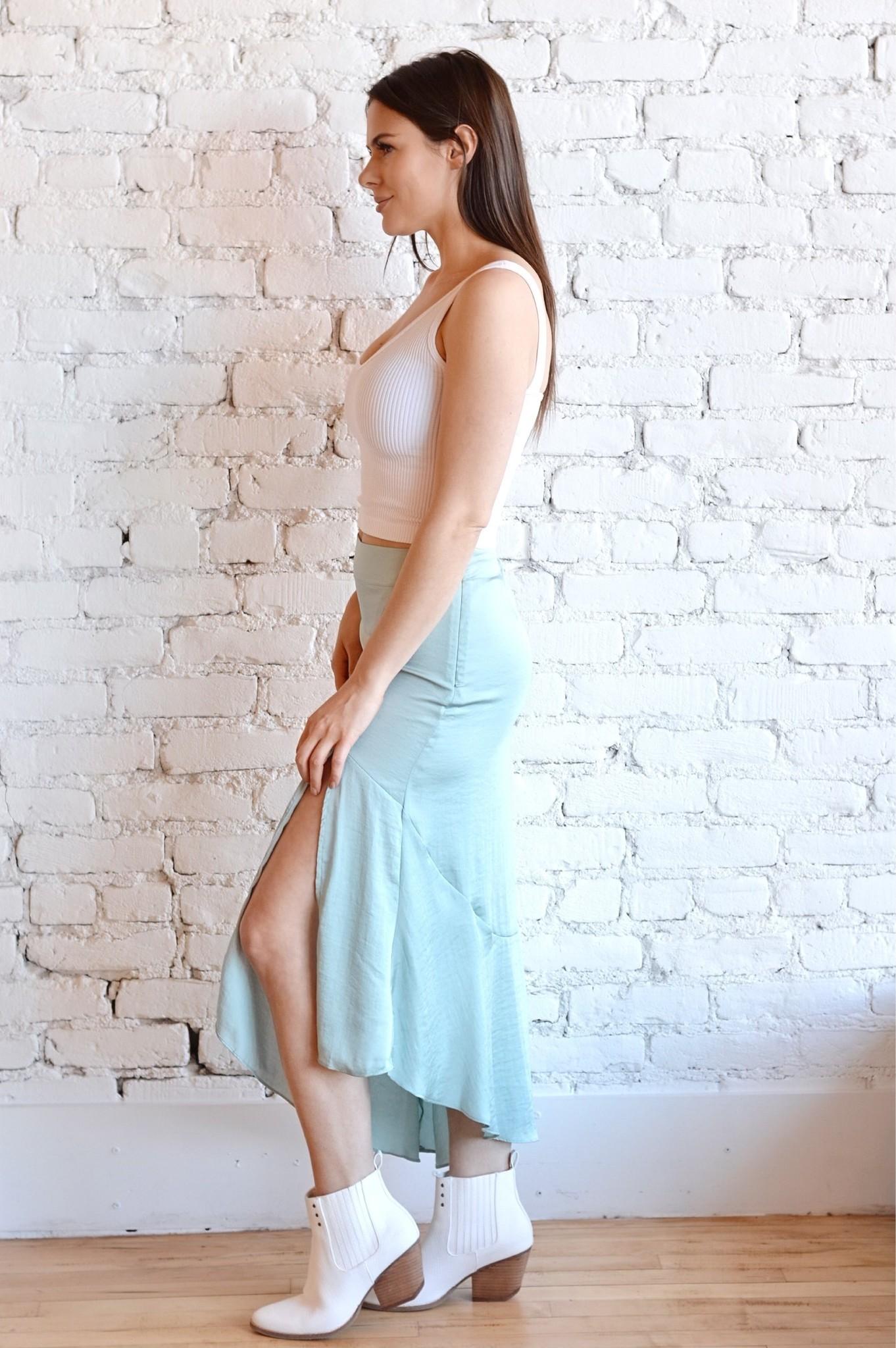 Lola Slit Skirt - Ocean Blue