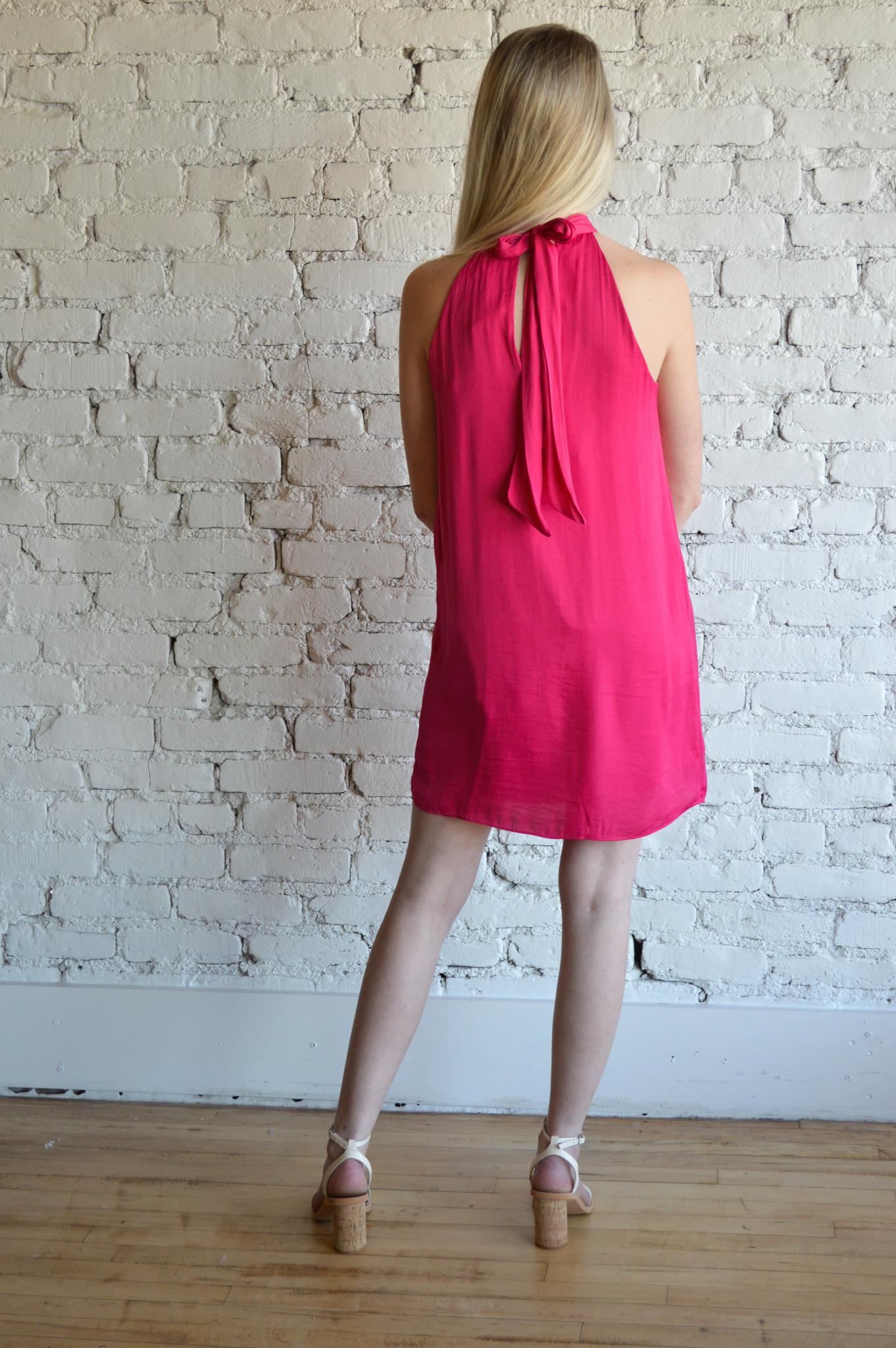 Tiki Tie Dress - Hot Pink