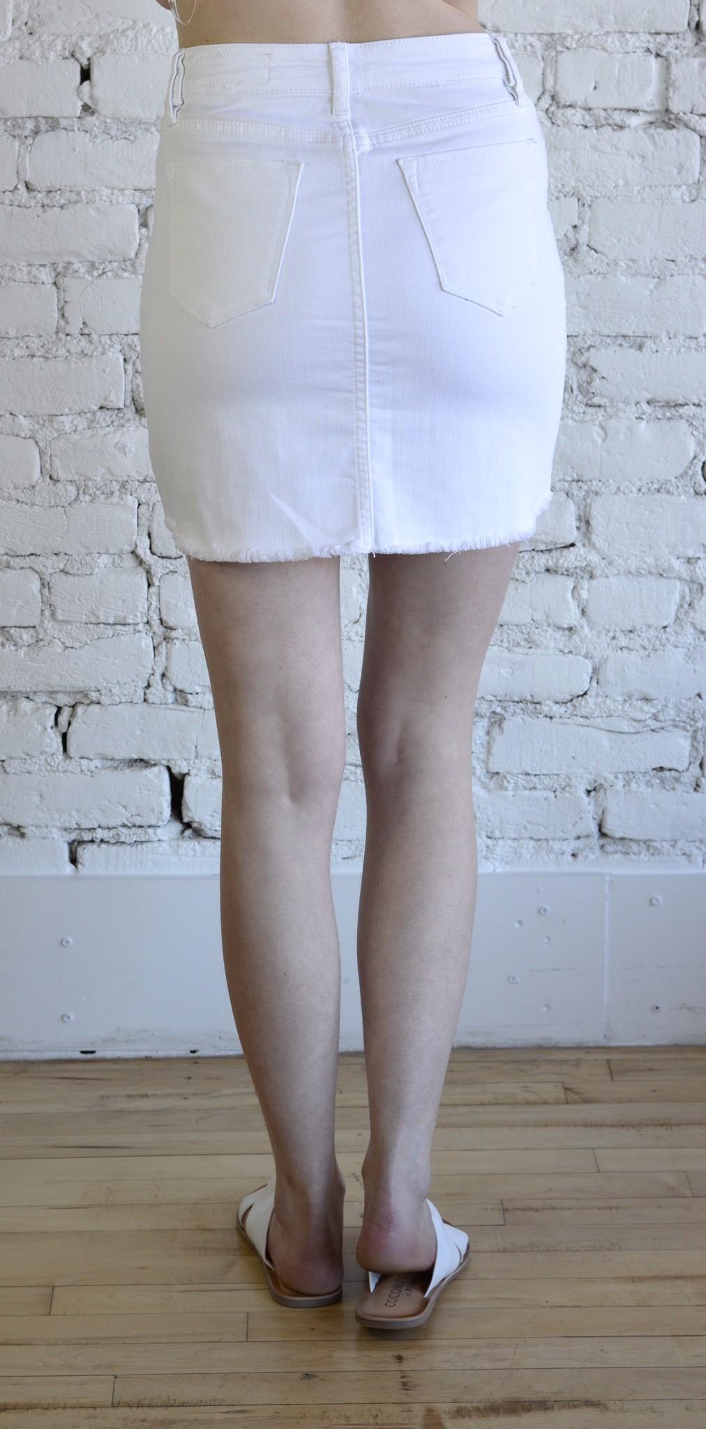 Sprung Denim Skirt - White