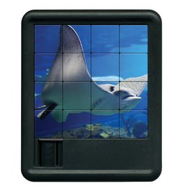Family Games America Sliding Tile Puzzle - Deep Blue Sea - Manta Ray