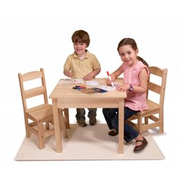 Melissa & Doug Wooden Table & Chairs Set - Natural Wood Coloring