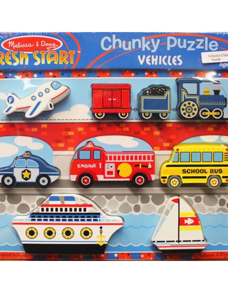 Melissa & Doug Puzzle - Wooden Chunky Puzzle - Vehicles