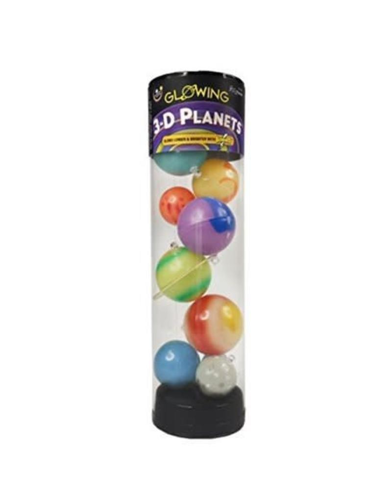 Glowing 3-D Planets In a Tube
